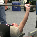 Pat bench pressing 67.5kg in his first competition
