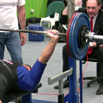Hannibal bench pressing 170kg in a bench shirt