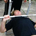 Dave demonstrating the MVS patented catch-the-bar-on-your-neck lift