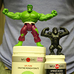 The Hulk and King Kong pimping vegan Musashi goods (note the colour coordination)..